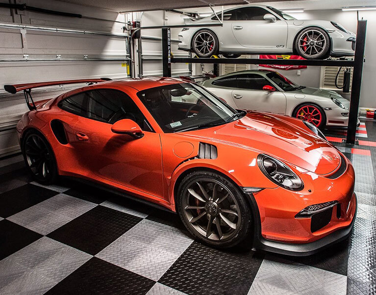 Porsche on diamond-tread garage flooring