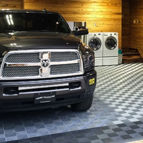 Garage flooring and a Dodge Ram 3500
