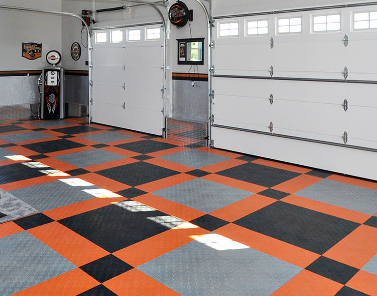 Harley-Davidson garage floor tiles