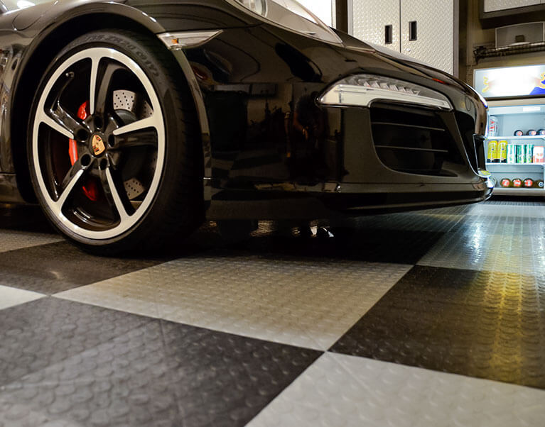 CircleTrac garage flooring with a Porsche