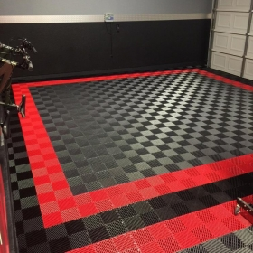 Red, black and graphite Free-Flow garage.