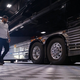 Brantley Gilbert's tour bus parked on Alloy Free-Flow