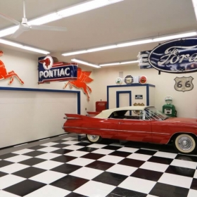 A classic car on classic checkerboard flooring