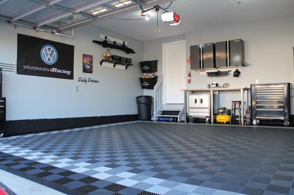 A clean garage with Graphite, Alloy, and Black Free-Flow