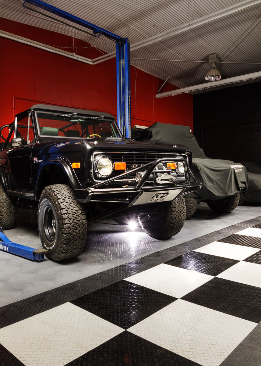 A Ford Bronco on RaceDeck Diamond with TuffShield® high-gloss coating