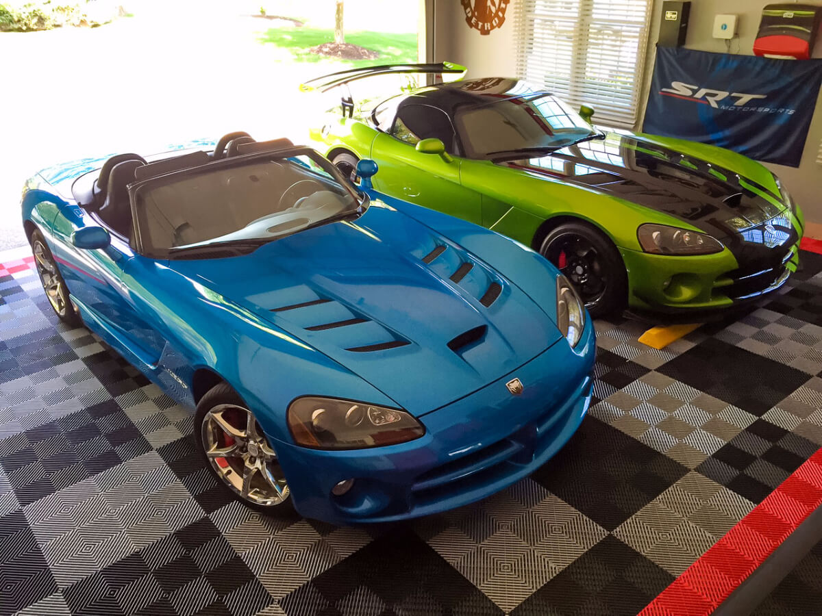A Garage with two Dodge Vipers and Free-Flow garage flooring