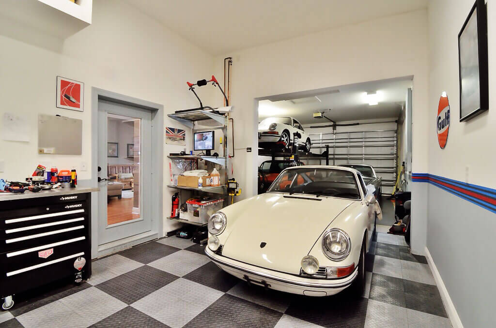 A garage with a vintage Porsche and graphite and alloy RaceDeck Diamond