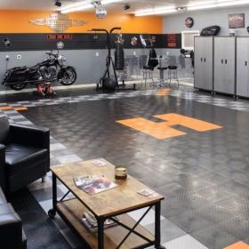 A Harley-Davidson themed garage