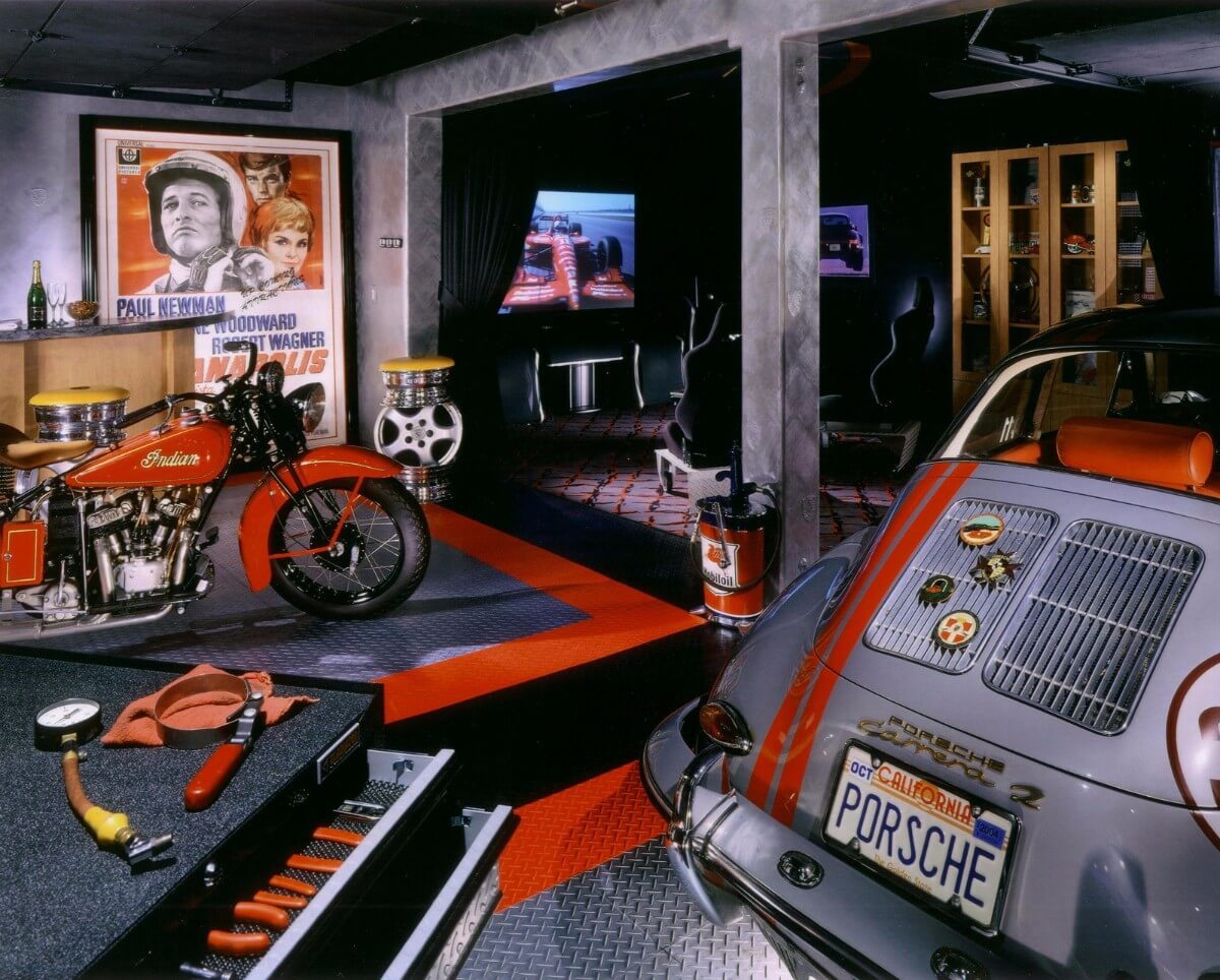 Classic Man Cave Walkthrough : A man cave with vintage indian motorcycle and