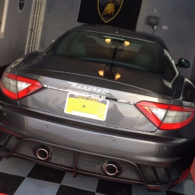 A Maserati on RaceDeck Diamond garage flooring