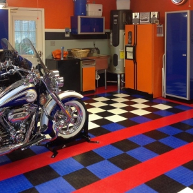 Two Harleys parked in a CircleTrac® garage
