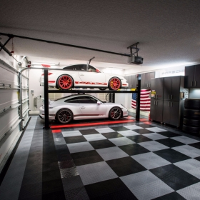Two Porsches and a lift