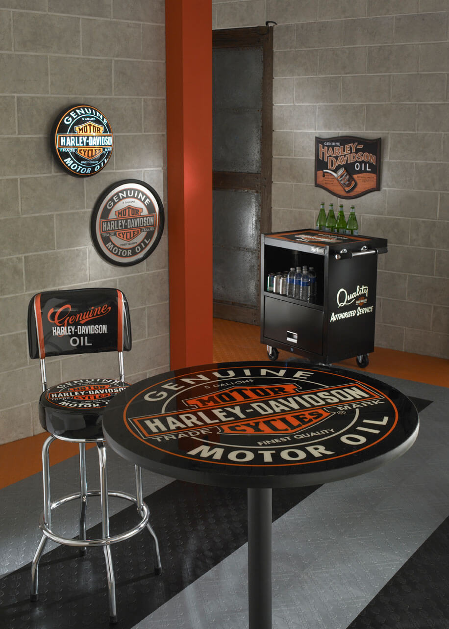Harley Davidson Showroom With Garage Floor Tiles