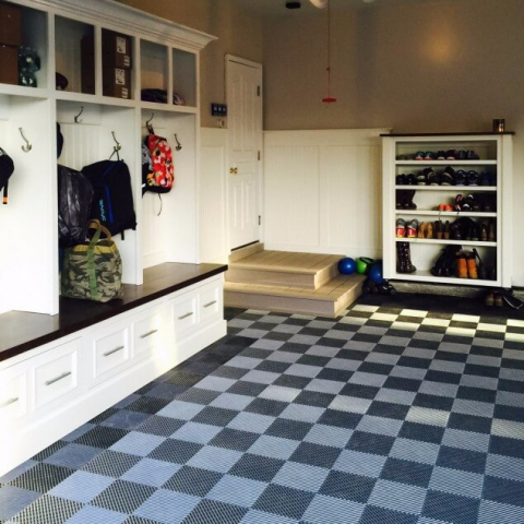 Mudroom area and garage with Free-Flow XL self-draining flooring.