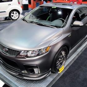 RaceDeck aluminium diamond plate flooring at an Auto Show.
