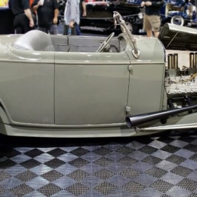 """Rad Rides by Troy 1932 Ford """"Ritzow"""" on Free-Flow at a car show"""