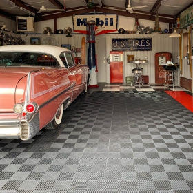 A '50s themed garage