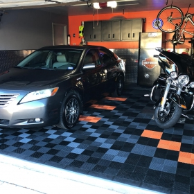 Free-Flow flooring in a Harley garage