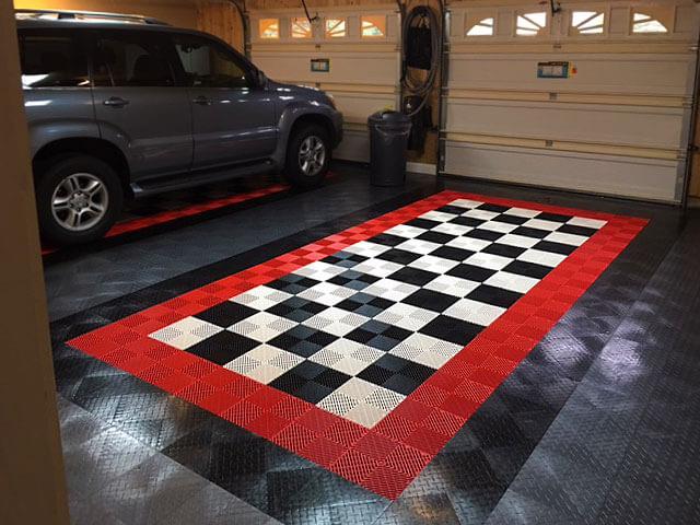 Garage floor with Free-Flow and RaceDeck Diamond