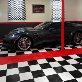 Corvette in RaceDeck Diamond checkered two-car garage