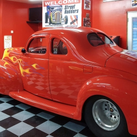 Hot rod on RaceDeck Diamond garage floors