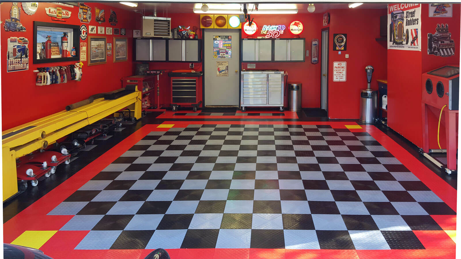 RaceDeck Diamond Red, Alloy, Black and Yellow modular garage flooring