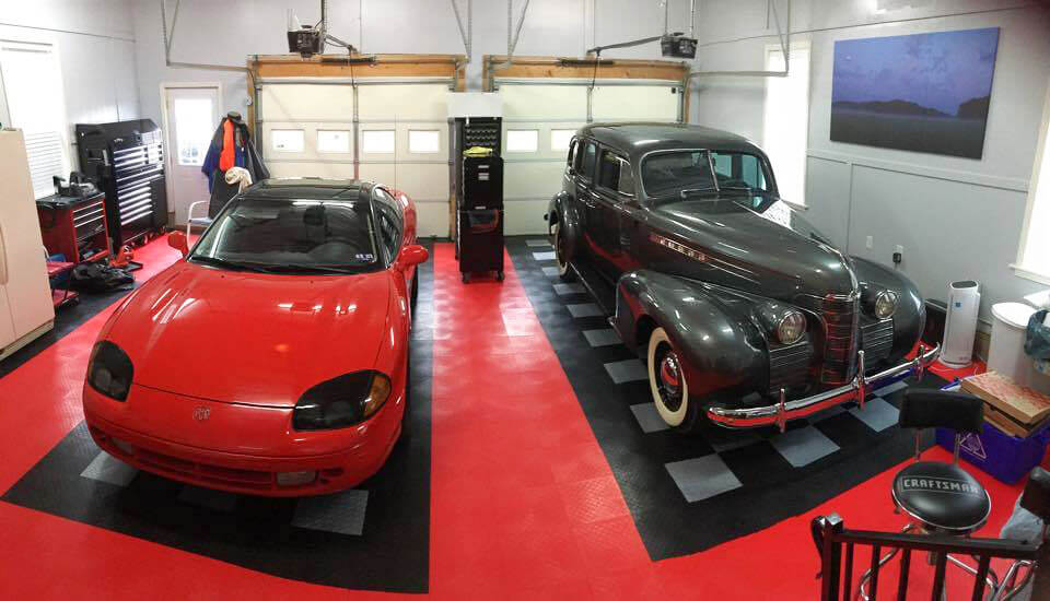 Two-car garage floored with RaceDeck Diamond