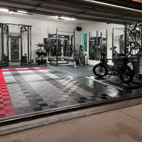 Free-Flow and RaceDeck Diamond garage with gym