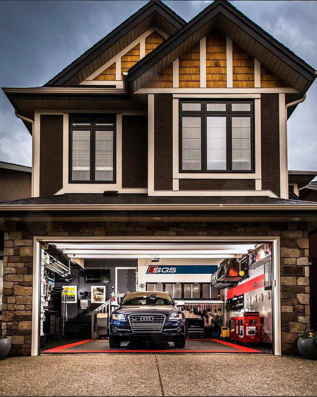 Audi in a home garage with RaceDeck Free-Flow flooring