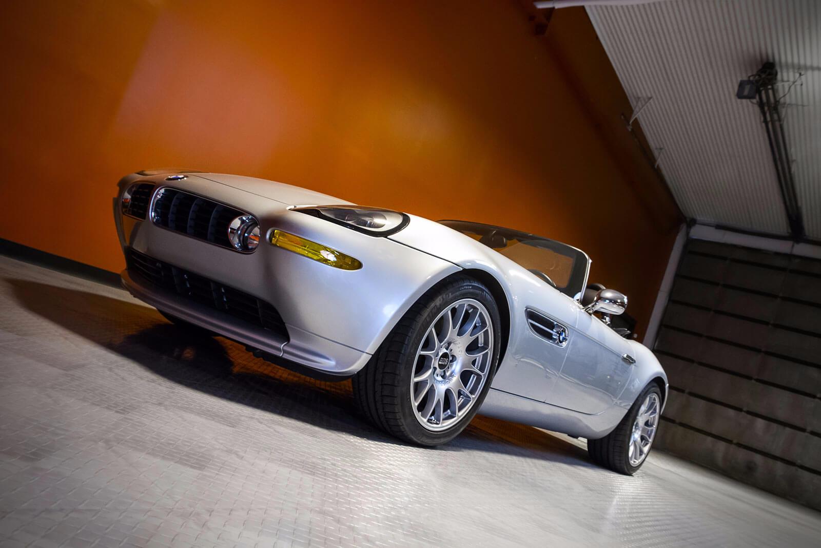BMW on a diamond-plate garage floor