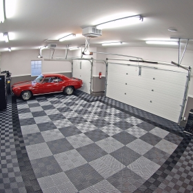 Camaro on a Free-Flow garage floor in Alloy and Graphite
