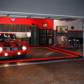 Camaro SS on interlocking garage floor tiles