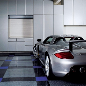 Carrera GT on RaceDeck Diamond modular garage flooring tiles with TuffShield