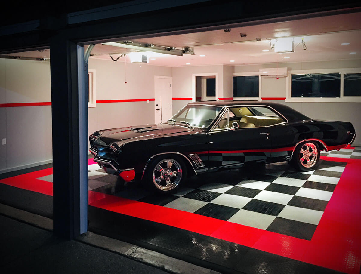 A classic Buick parked on RaceDeck modular flooring
