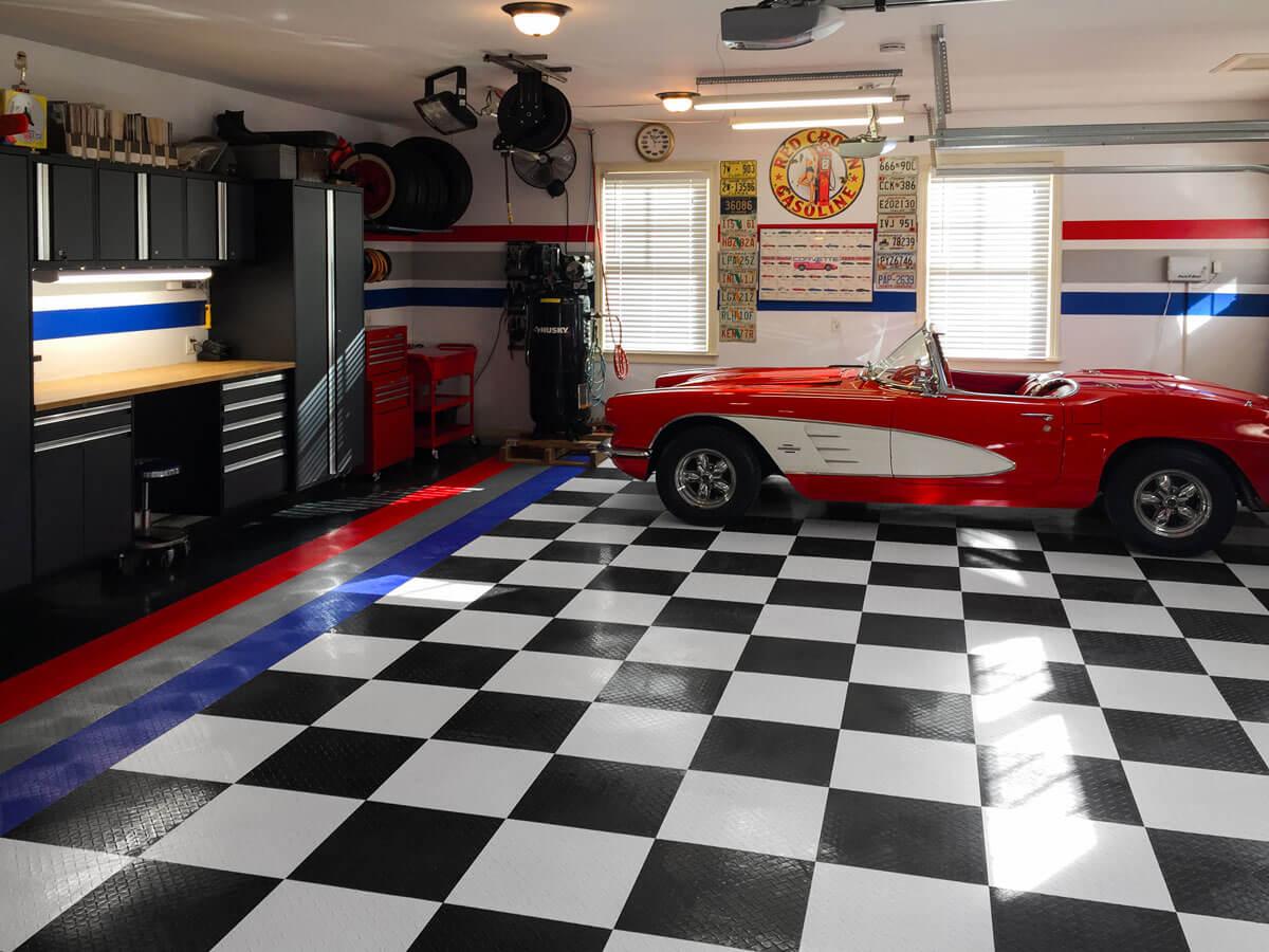 Corvette on a checkerboard floor