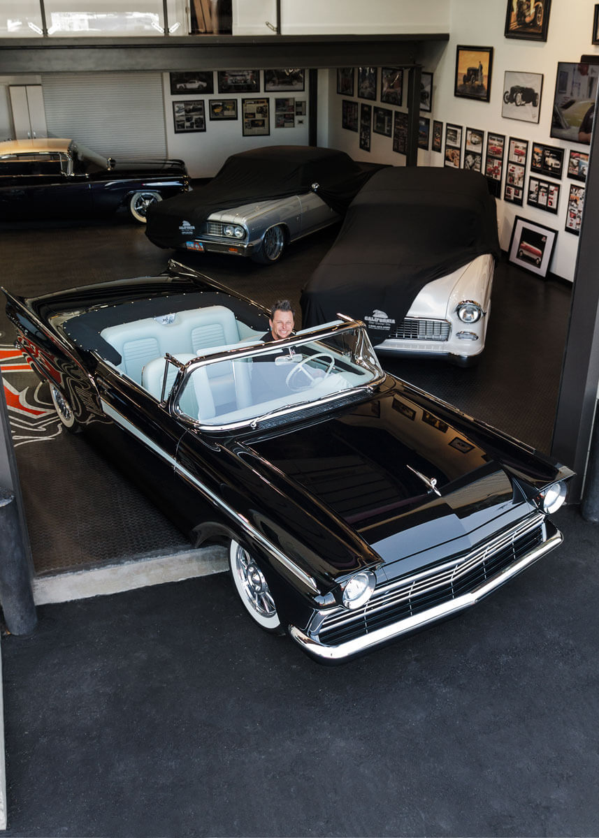 Dave Kindig and his showroom with RaceDeck garage flooring