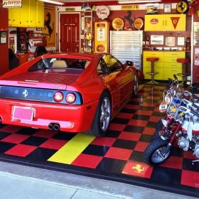 A Ferrari themed garage