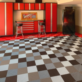 Ohio State themed garage with red, graphite and alloy Free-Flow flooring