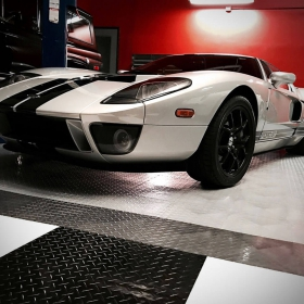 Ford GT on RaceDeck Diamond with TuffShield® modular garage floors