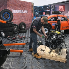 The Hoonigan booth at SEMA