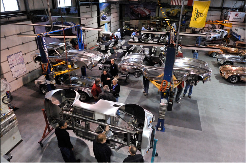 Kirkham Motorsports factory with RaceDeck diamond on the shop floor