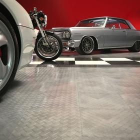 The Dave Kindig Mailboost parked on RaceDeck's garage flooring tiles