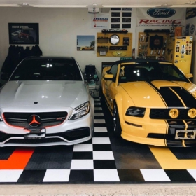Mercedes and Mustang in a multi-color RaceDeck Diamond garage
