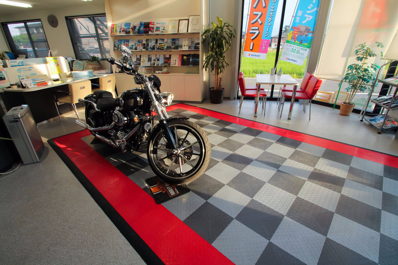 Motorcycle display pad at a dealership in Japan