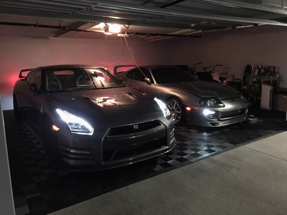 RaceDeck garage flooring looks great at night with this Nissan GT-R
