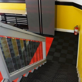 This garage even has Free-Flow on the stairs!