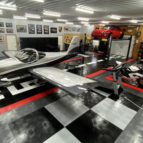 Airplane hangar and garage with RaceDeck Diamond custom patterns