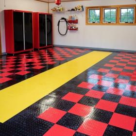Empty, clean 2-car garage with multicolor Diamond Tuffshield floor