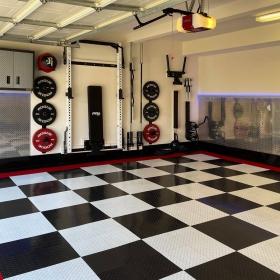 RaceDeck Diamond garage with gym equipment