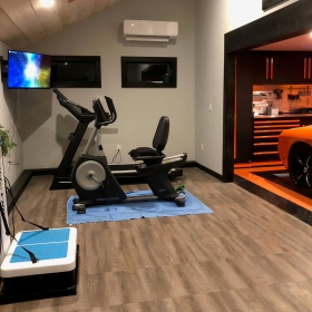 Smoked Oak exercise area in garage